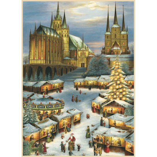 "Erfurt Christmas Market Advent Calendar ~ Germany ~ 14-3/4"" x 10-1/4"""