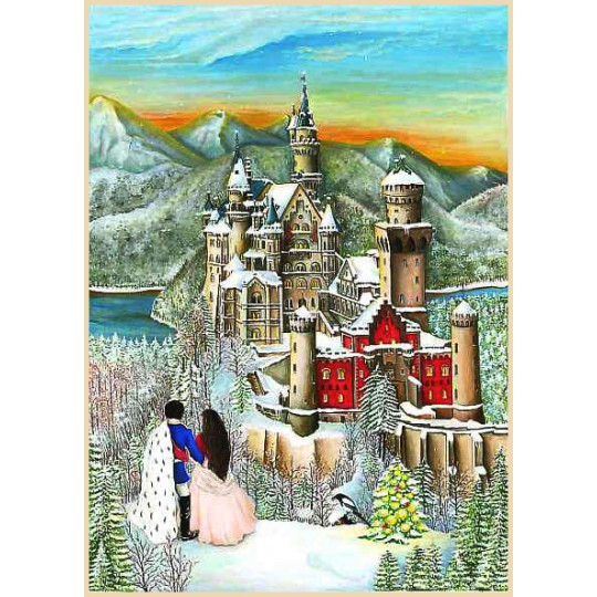 "Christmas at Neuschwanstein Castle Advent Calendar ~ Germany ~ 14-3/4"" x 10-1/4"""
