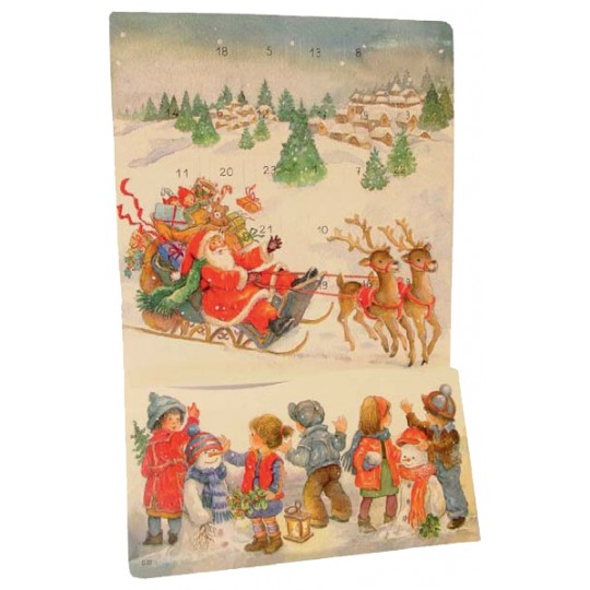 "Large Santa with Snowy Sled Advent Calendar from Spain ~ 15-1/2"" tall"