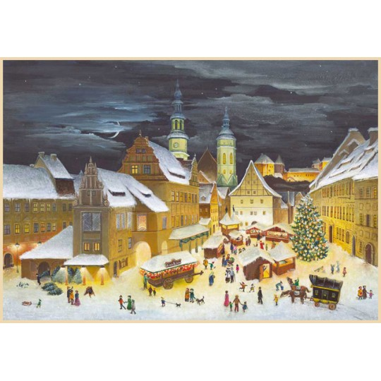 "Pirna Christmas Market Advent Calendar ~ Germany ~ 14-3/4"" x 10-1/4"""