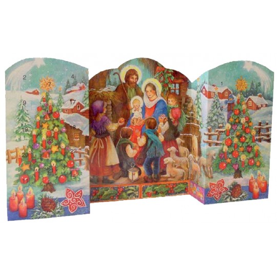 "Large Colorful Nativity Standing Advent Calendar from Spain ~ 21"" wide"
