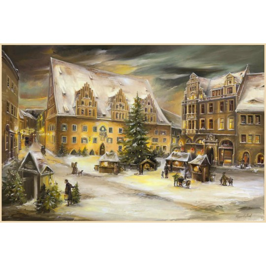 "Meissen Rathaus Christmas Market Advent Calendar ~ Germany ~ 14-3/4"" x 10-1/4"""