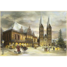 "Christmas in Bremen Advent Calendar ~ Germany ~ 14-3/4"" x 10-1/4"""