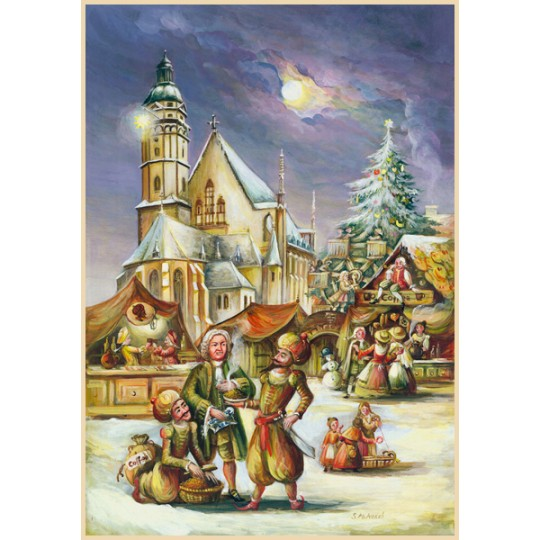 "Leipzig and Bach Advent Calendar ~ Germany ~ 14-3/4"" x 10-1/4"""