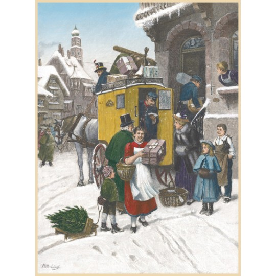 "Christmas Post Advent Calendar ~ Germany ~ 13-3/4"" x 10-1/4"""