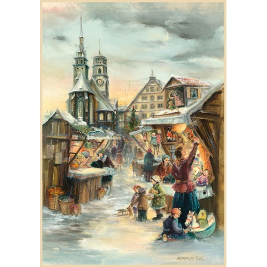 "Christmas in Stuttgart Advent Calendar ~ Germany ~ 14-3/4"" x 10-1/4"""