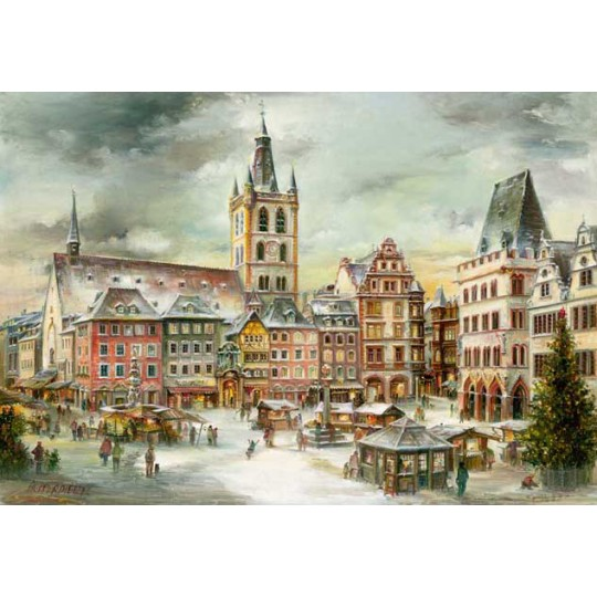"Trier Christmas Market Advent Calendar ~ Germany ~ 14-3/4"" x 10-1/4"""
