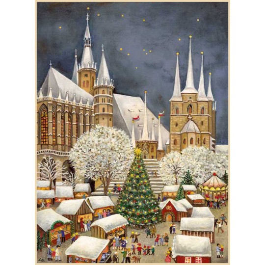 "Erfurt Dom Christmas Market Advent Calendar ~ Germany ~ 14-3/4"" x 10-1/4"""