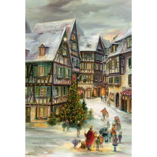"Christmas in Colmar Advent Calendar ~ Germany ~ 14-3/4"" x 10-1/4"""