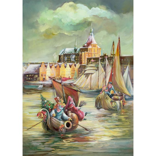"Christmas in Rostock Advent Calendar ~ Germany ~ 14-3/4"" x 10-1/4"""