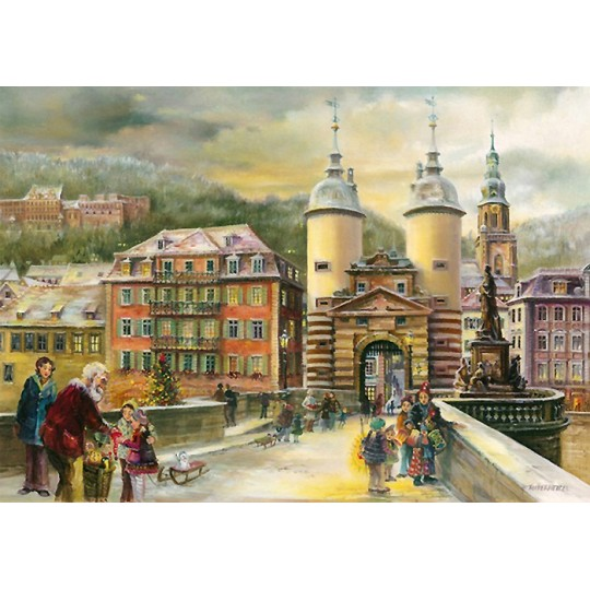 "Christmas in Heidelberg Town Advent Calendar ~ Germany ~ 14-3/4"" x 10-1/4"""