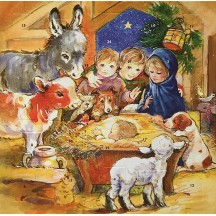 Small Children and Animals Visit the Manger Advent Calendar ~ England