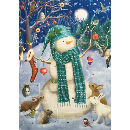 Festive Snowman and Animals Glittered Advent Calendar ~ England