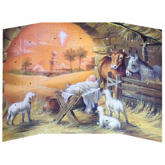 "Beautiful Manger Scene Advent Calendar ~ England ~ 9-3/4"" tall"