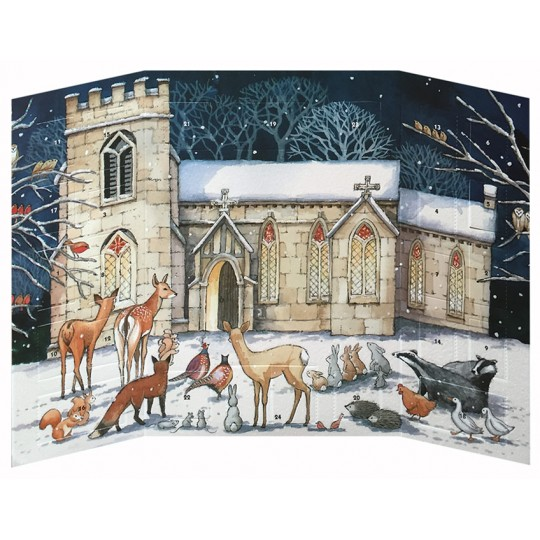 "Snowy Church Advent Calendar ~ England ~ 9-3/4"" tall"