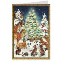 Woodland Animals Christmas Advent Calendar Card ~ Germany