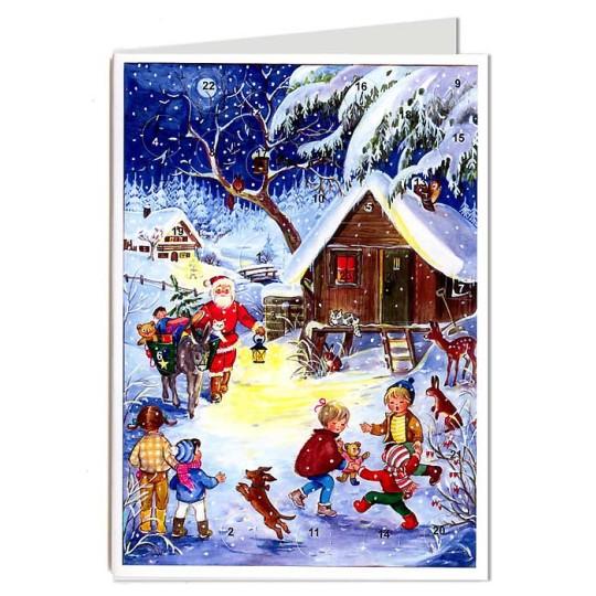Santa with Burro Advent Calendar Card ~ Germany