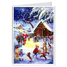 Santa with Burro Advent Calendar Card ~ Germany