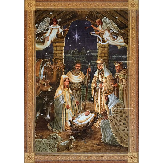 "Beautiful Golden Manger Scene Advent Calendar ~ England ~ 13-3/4"" tall x 9-3/4"" wide"