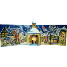 Village Church Standing Advent Calendar from Germany