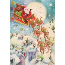 Santa in Sleigh Glittered Christmas Advent Calendar ~ England