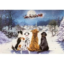 "Dogs Waiting The Night Before Glittered Advent Calendar ~ England ~ 13-3/4"" x 9-3/4"""