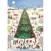 "Christmas Time Glittered Advent Calendar ~ England ~ 13-3/4"" x 9-3/4"""