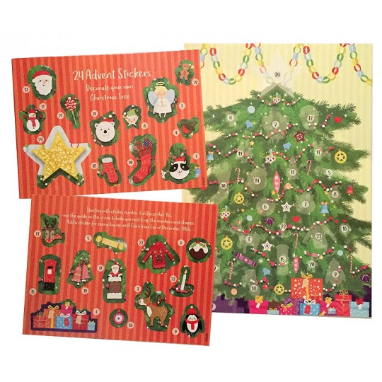 "Arounnd The Tree Advent Calendar with Stickers ~ England ~ 13-3/4"" x 9-3/4"""