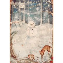 "Woodland Snowman Advent Calendar with Stickers ~ England ~ 13-3/4"" x 9-3/4"""