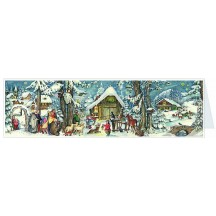 Snowy Nativity Panoramic Advent Calendar Card ~ Germany