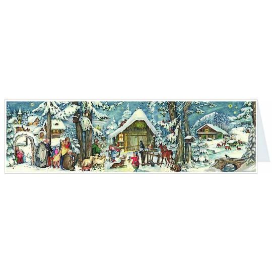 Snowy Nativity Panoramic Advent Calendar Card ~ Germany