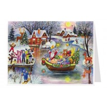 Santa in Boat Advent Calendar Card ~ Germany