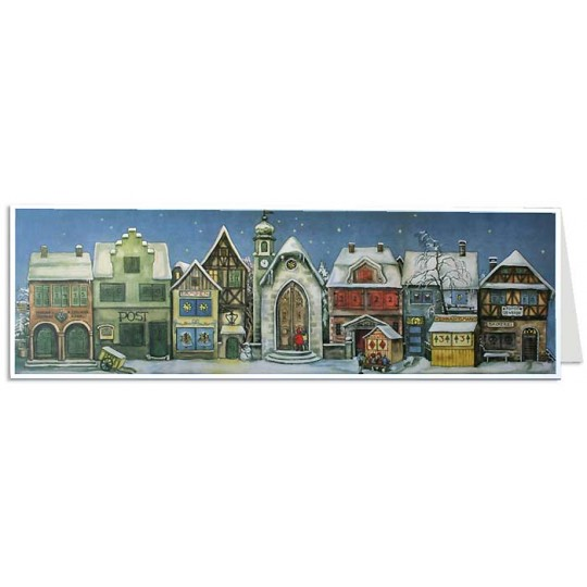 Little Town Panoramic Advent Calendar Card ~ Germany