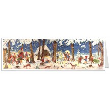 Gnones and Animals Panoramic Advent Calendar Card ~ Germany