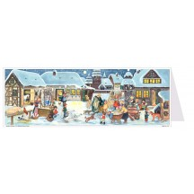 Snowy Village Panoramic Advent Calendar Card ~ Germany