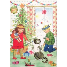 "Mog the Forgetful Cat with Presents Glittered Christmas Advent Calendar ~ England ~ 13-3/4"" tall"