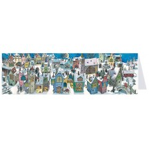 Colorful Village Panoramic Advent Calendar Card ~ Germany
