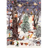 "Magical Forest Glittered Advent Calendar ~ England ~ 13-3/4"" x 9-3/4"""