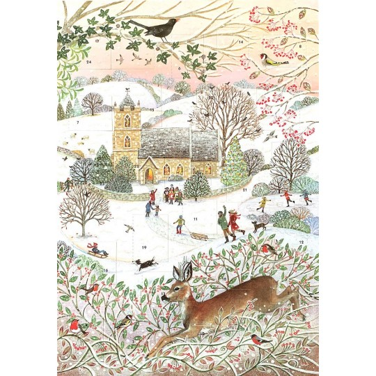 "Country Church Scene Glittered Advent Calendar ~ England ~ 13-3/4"" x 9-3/4"""