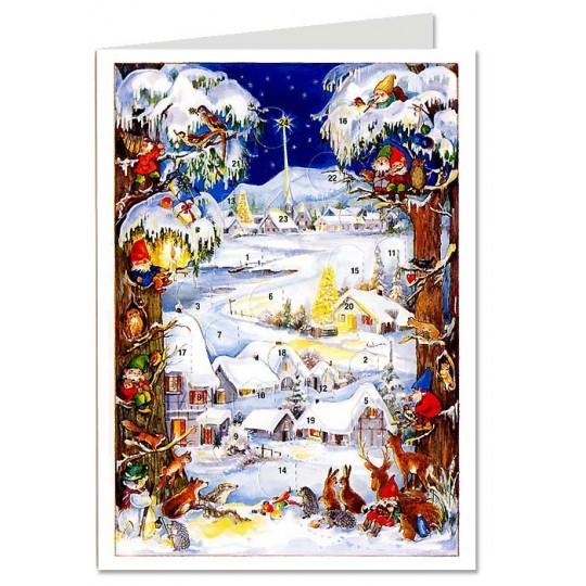 Snowy Village with Gnomes Advent Calendar Card ~ Germany ~ New for 2012