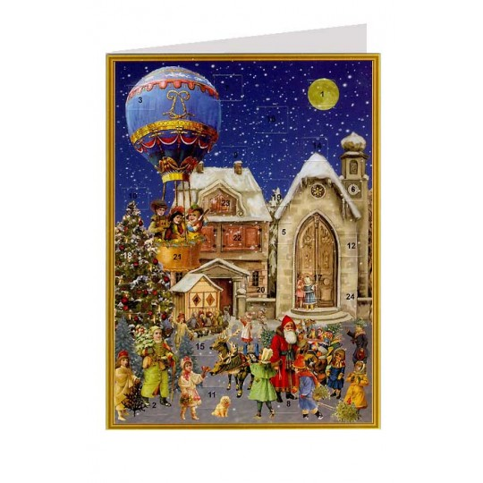 Hot Air Balloon Advent Calendar Card ~ Germany