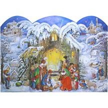 Snowy Christmas Manger Standing Advent Calendar