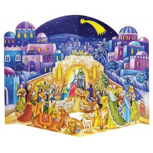 Colorful Christmas Manger 3-D Standing Advent Calendar