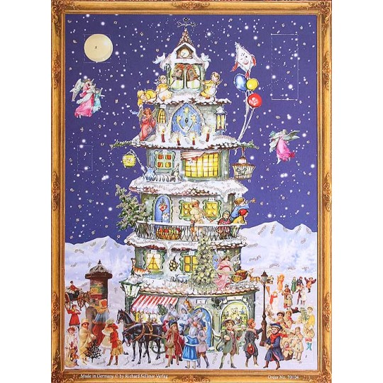 "Victorian Christmas Tower Advent Calendar ~ 14-1/4"" x 10-1/2"""