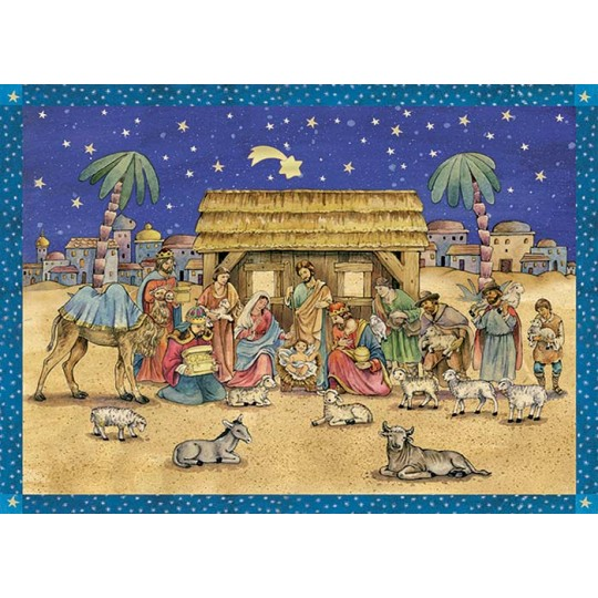Nighttime Nativity Manger Scene German Advent Calendar