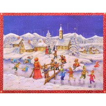 "Snowy Village Skating Paper Advent Calendar ~ 13-3/4"" x 10-1/2"""