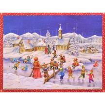 "Snowy Village Skating Paper Advent Calendar ~ 13-3/4"" x 10-1/2"""