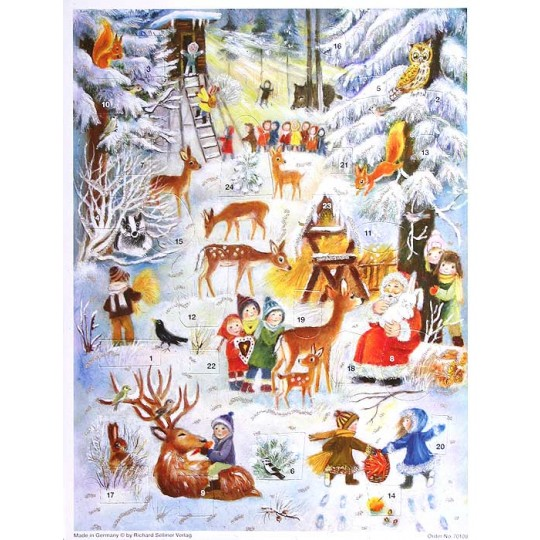 "Santa and Forest Animals Paper Advent Calendar ~ 14"" x 10-5/8"""