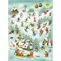 "Santa and Skiing Children Paper Advent Calendar ~ 14"" x 10-5/8"""