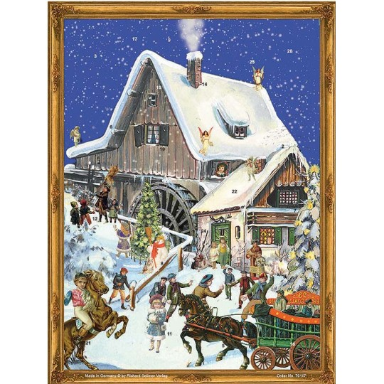 "Victorian Mill Advent Calendar ~ 14-1/4"" x 10-1/2"""